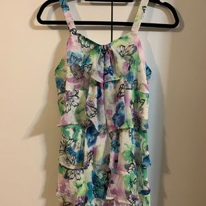 Colorful butterfly sleeveless tiered dress